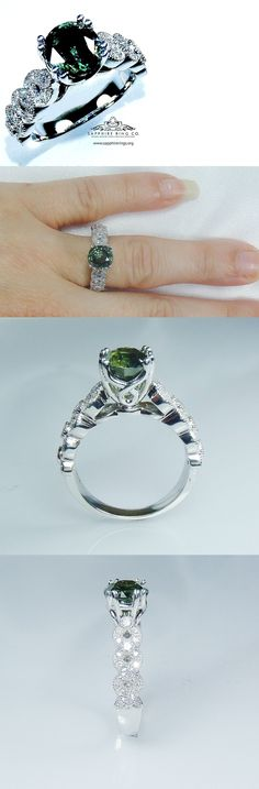Other Engagement Rings 164308: Certified 14Kt White Gold 2.08 Tcw Green Round Natural Sapphire And Diamond Ring -> BUY IT NOW ONLY: $3345 on eBay!