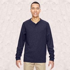 Ash City-North End-Mens Excursion Nomad Performance Waffle Henley-88221