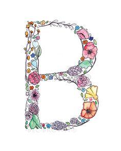 Floral Watercolour Alphabet  Letter 'B' by CloudsofColourShop, $12.00