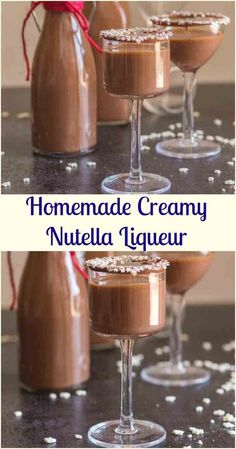 Homemade Creamy Nutella Liqueur - an easy delicious hazelnut cream liqueur. Cold or on the rocks, this is the perfect Christmas holiday drink or dessert. Super easy to make - try it this holiday season! Homemade Liqueur Recipes, Homemade Alcohol, Homemade Liquor, Homemade Baileys, Dessert Drinks, Fun Drinks, Yummy Drinks, Sweet Alcoholic Drinks, Alcohol Drink Recipes