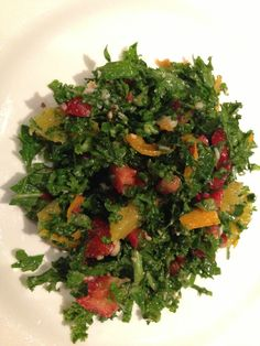Kale minced with strawberries, Parmesan cheese, lemon and olive oil.   #Healthy #Dinner #Idea Bon'App to help you pick healthy food options.  Bon-App.com