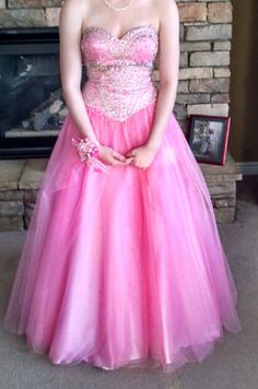 54deb77d5a For Sale  Stunning Pink beaded ball gown prom dress.   reduced to  160