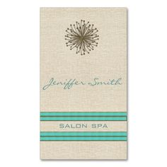 Chic elegant dandelion turquoise stripes Double-Sided standard business cards (Pack of 100). This is a fully customizable business card and available on several paper types for your needs. You can upload your own image or use the image as is. Just click this template to get started!