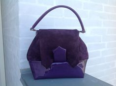 Early 1940s inspired purple leather handbag - pinned by pin4etsy.com
