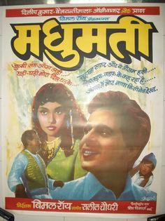 Madhumati (1958), Dilip Kumar, Classic, Indian, Bollywood, Hindi, Movies, Posters, Hand Painted