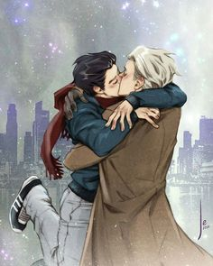 {not mine} credit to artist (tag if you know them) Viktor Nikiforov x Yuuri Katsuki - Viktuuri Yuri! On Ice / Yoi Drarry, Viktor X Yuri, Yuri X Victor, Katsuki Yuri, Yuuri Katsuki, Yuri On Ice, Canon Anime, Victor Nikiforov, Film Anime
