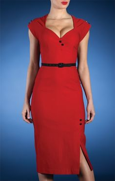 rockabilly plus size dress in Red, Sweetheart Neckline - Stop Staring! Clothing