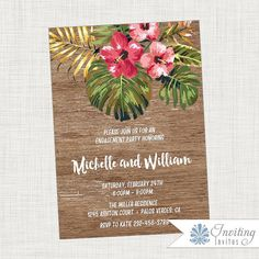 Tropical Engagement Party Invitation, Vintage, Rustic, Hibiscus, Palm Frond, Tropical