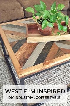 Diy Furniture West Elm Inspired Industrial DIY Coffee Table -Read More – Coffee Table Plans, Coffee Table Styling, Diy Coffee Table, Coffee Table Design, Diy Table, Coffee Table West Elm, Coffee Cake, Metal Wood Coffee Table, Mid Century Coffee Table
