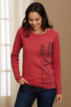 MADE IN USA.. Green 3 Apparel Long Sleeve Trees Organic Made in USA T-shirt at Amazon Women's Clothing store: