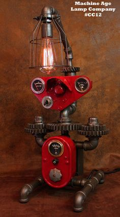 Steampunk Lamp, by Machine Age Lamps, Farmall Tractor Dash Farm Lamp -