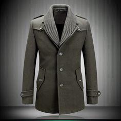 Men's Business Double collar stand cashmere blend jacket coat | Top Quality Winter men's woolen wool blend overcoat detachable slim ...