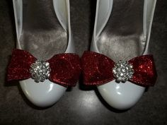Red Glitter Bow Shoe Clips  sparkling rhinestones by ShoeClipsOnly, $28.00