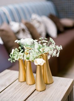 Gold Vases + Queen Anne's Lace | Photography: Melissa Schollaert