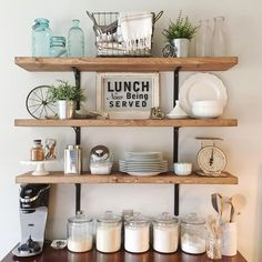 Open shelving in the kitchen. Cute styling ideas for a farmhouse kitchen Open shelving in the kitchen. Cute styling ideas for a farmhouse kitchen Farmhouse Kitchen Decor, Kitchen Redo, New Kitchen, Kitchen Design, Kitchen Ideas, Kitchen Small, Farmhouse Budget, Farmhouse Style, Farmhouse Signs
