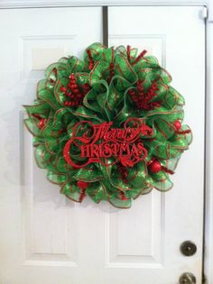 Bright Green and Red Mesh Christmas Wreath