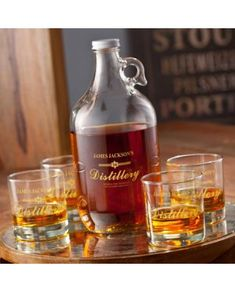 This personalized distillery label whiskey growler and glasses set is customized, classic, and stylish. It features a traditional, 64 oz. glass whiskey growler and four lowball sized whiskey glasses, each featuring a custom printed distillery label. Whisky, Whiskey Distillery, Whiskey Decanter, Whiskey Glasses, Whiskey Bottle, Whiskey Gifts, Whiskey Barrels, Tumblers, Brewery Design