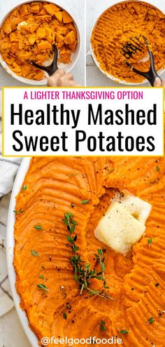 Healthy Mashed Sweet Potatoes are similar to a casserole but without the sugary topping. It's a lightened up savory recipe that pairs well with any protein! Healthy Potato Recipes, Sweet Potato Recipes, Easy Recipes, Healthy Mashed Sweet Potatoes, Mashed Potatoes, Fall Dessert Recipes, Thanksgiving Desserts, Healthy Thanksgiving Recipes, Thanksgiving Traditions