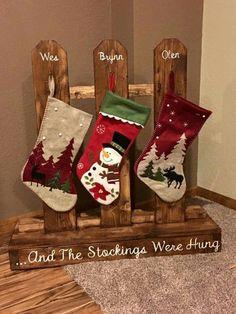 Wooden stocking hanger