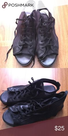 Fashion black net sandal Good condition. Only wear couple of times. Topshop Shoes Sandals