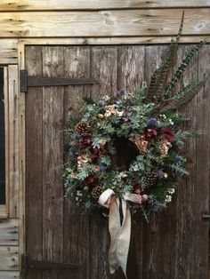 Wreaths are a classic Christmas tradition and they're great fun to make! Here's a list of over 80 beautiful Christmas ideas. Christmas Door Wreaths, Christmas Flowers, Christmas Decorations, Homemade Christmas Wreaths, Holly Wreath, Berry Wreath, Jam Jar Flowers, Feather Wreath, Sea Holly