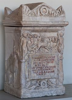 Cinerary urn of Marcus Ulpius Floridus with a scene of the Persephone's abduction. Marble. Early 2nd cent. CE. Rome (?). Inv. No. Com. 515.Perugia, National Archaeological Museum of Umbria.