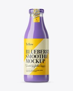 Blueberry Smoothie Bottle Mockup. Preview
