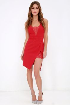 Dance If You Want To Red Lace Dress at Lulus.com!