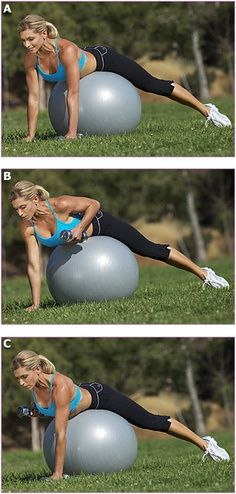 Abs And Back In One!  Challenge your body with this ball exercise. This pregnancy has me gaining my weight weirdly! Definitely need to work out my back!