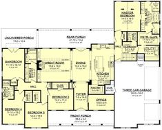 House Plans One Story, One Story Homes, New House Plans, Dream House Plans, Story House, Modern House Plans, Dream Houses, Home Plans, Modern Floor Plans