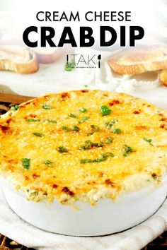 Make this Easy Hot Crab Dip with Cream Cheese to serve at your next party appetizer! It comes together in minutes and is a guaranteed hit!!!