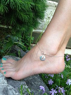 "Sterling Silver Disk & Heart ""I Love You"" Anklet - Sign Language Symbol by CopperfoxGemsJewelry on Etsy https://www.etsy.com/listing/292390401/sterling-silver-disk-heart-i-love-you"