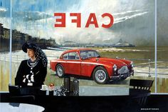 Beautiful girl, waiting in a cafe. Who is she waiting for? Does she own the Aston Martin? The stormy sea wrapping itself around Eastbourne Pier reflects her mood. Stormy Sea, Car Sit, Car Posters, Waiting Rooms, Automotive Art, Car Painting, Aston Martin, Classic Cars, Romance