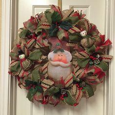 Santa Navidad Deco malla corona Jesús Wreath por SignsBYDebbieHess