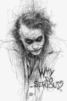 Artist Vince Low has turned once-aimless doodling into Scribble Art, which is an advanced art form of penmanship. Described as Scribbles with life, Vince Low's works are invariably in portrait form. Art Du Joker, Le Joker Batman, Der Joker, Superman, Gotham Batman, Jocker Batman, Batman Robin, Heath Joker, Joker Drawings