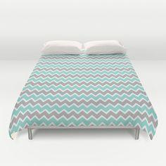 Aqua Turquoise Blue and Grey Gray Chevron Duvet Cover for bedroom bedding decor #decampstudios