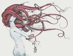 By TAOJB on Tentacle hair. Octopus spirit manipulates your mind.Addictions, lust, etc. The suckers act like pistons-the more you struggle to get away the tighter the grip. Their arms grow back if severed. Must chop of their head to save yourself. Theme Tattoo, Tatoo Henna, Drawn Art, Illustration Art, Illustrations, Desenho Tattoo, Kraken, Pics Art, Piercing Tattoo