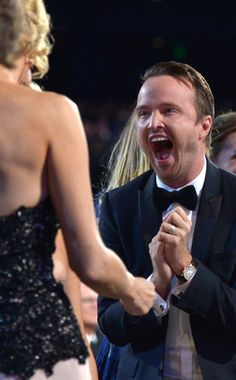 Anna Gunn winning her Emmy for Breaking Bad. To say Aaron Paul is happy to see his costar win is probably an understatement.