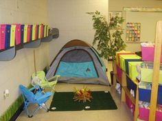 Reading Corner (Camping Classroom Theme) MIght just be fun to set up in the house for a few days and READ READ READ!