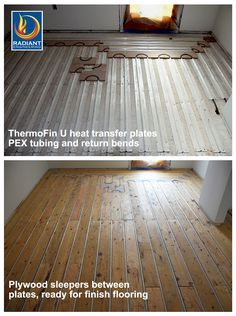 Radiant heating with ThermoFin U extruded aluminum heat transfer plates are state-of-the-art for in-floor heating. This floor is now ready for hardwood floors to be installed. Free samples are available from radiantengineering.com.