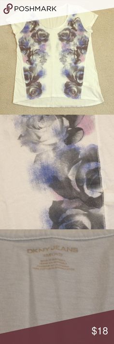 Dkny white roses tee high low xs This high low tee from DKNY has never been worn and is new without tags DKNY Tops Tees - Short Sleeve