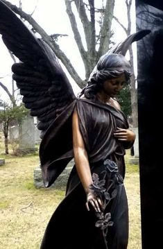Beautiful cemetery angel in Ireland. Really beautiful Angel❤️. - Is it an angel or a fairy, as in Ireland they use to believe in both. ~ {They look like Angel Wings to me}. Cemetery Angels, Cemetery Statues, Cemetery Headstones, Old Cemeteries, Cemetery Art, Graveyards, Angels Among Us, Angels And Demons, Gothic Angel