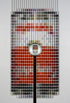 Pixelated images created with spools of thread - Devorah Sperber