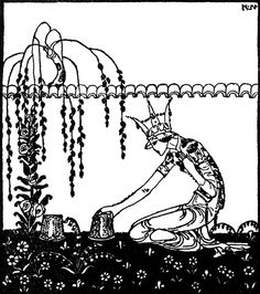 """Kay Nielsen illustration to Prince Lindworm; from """"East of the Sun, West of the Moon""""; """"So the Queen went home and did as she had been told: and next morning at sunrise she stole out into the garden and 55 lifted up the little drinking-cup. She was surprised, for indeed she had hardly expected to see anything. But there were the two roses underneath it, one red and one white."""""""