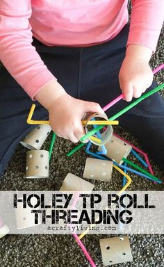 Holey TP Roll Threading with Straws! Inexpensive Fine Motor activity for Toddlers & Preschoolers! http://www.acraftyliving.com