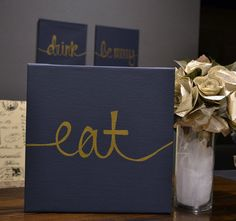 Eat Drink & Be Merry Canvas Wall Art Paintings Three Piece Value Pack Wall Hangings Navy, Gold Modern Chic Dining Room or Kitchen Home Decor