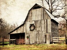 Old Barn near Piedmont Missouri, obviously someone still loves this old barn, they took the time to decorate it for Christmas!  :)