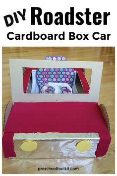 Recycle a large cardboard box for some awesome engineering and creative play with preschoolers. Give kids some hands-on fun and learning with a kid-size roadster. This car is easy to make with everyday materials. #preschoolactivities #homemadetoys #preschool Toddler Preschool, Preschool Activities, Large Cardboard Boxes, Homemade Toys, Creative Play, Imaginative Play, Pretend Play, Pre School, Create Your Own