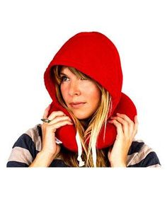 Hooded Travel Pillow: Catch some serious shut eye on your next trip with this inflatable travel pillow. Complete with a drawstring hood crafted out of sweatshirt material, it's comfortable to rest your head no matter where you are.