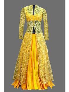 Yellow Party Wear Lehenga Suit Salwar Kameez - Rs. 1520.00